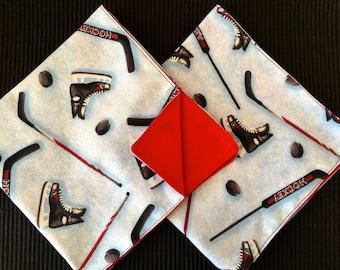 Ice Hockey Lunchbox Napkins, Reversible Large Size. Kids Reusable Cloth Napkins, Back To School Time! Sports napkins.