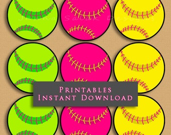 """2.5"""" Softball Pink Green Yellow Printable Cupcake Toppers Sports Theme Birthday Party DIY Printable INSTANT DOWNLOAD"""