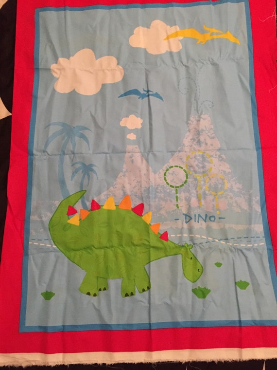 Dino kids fabric panel by sayitsew on etsy for Kids dinosaur fabric
