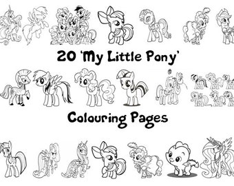 My Little Pony (Friendship is Magic) -  Colouring Book Pack - 20 x A4 Sheets ! (Rainy Day/ Holiday Craft for Children)