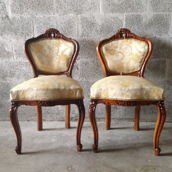 Antique French Louis Xvi Living Room Chairs Wingback Fauteuil