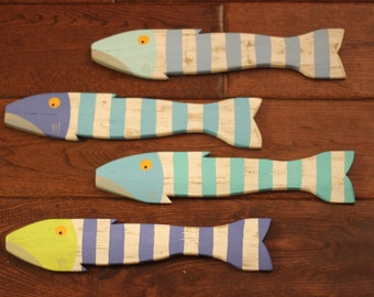 Set of 4- Wooden Fish Nautical Fish Decor - Reclaimed Fish - Reclaimed Picket Fence Fish