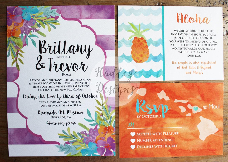 Tropical Wedding Invitations: Destination Wedding Invitation Tropical Wedding Invitations