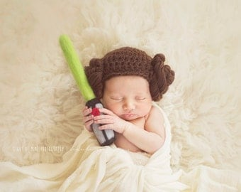 Princess Leia Beanie - NEWBORN/BABY/CHILD - Leia hat - Leia Hair hat only