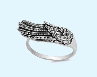 Angel Wing Ring 925 Sterling Silver Oxidized Band Angel Wing Ring Women's fashion ring size 4-13