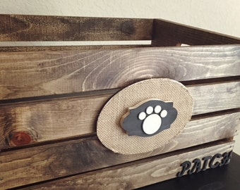 Pet Toy Box - Paw Print Burlap Personalized