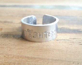 Fighter |Hand stamped Ring |Personalised Ring| Suicide Prevention Jewelry|., ring |Positive Quotes |Personalized Jewelry