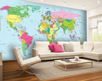 World Map Wall mural, Wallpaper, Wall décor, Wall decal, Nursery and room décor, Wall art, Canvas Print