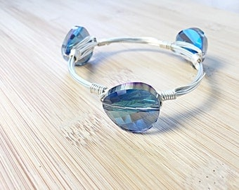 Blue Iridescent Curved Crystal Wire Bangle/Wire Bangles/ Crystals/ Bracelets/ Gifts