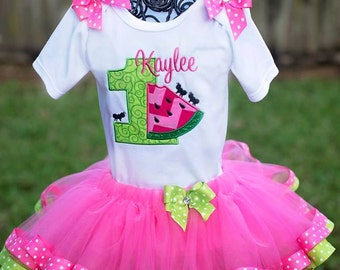 Hot Pink Apple Green Watermelon Birthday Tutu Set