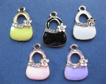 5 Multi-Colored Handbag Charms - Multi-Colored Handbag Pendant -  Purse Charm - Handbag Charm - Purse - Enamel - 20mm x 13mm-(Q3-10826)