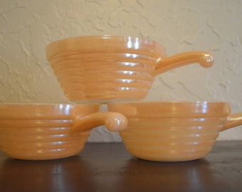 Fire King Ovenware Peach Lustre Bowls (set of 3)