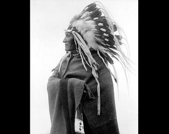 Native American Indian Blackfoot Chief Lazy Boy Professionally Restored Photograph Reprint from 1924, Harris & Ewing - 0710