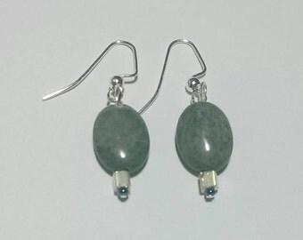 Gray Oval Earrings