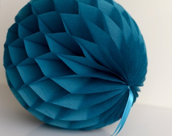 Peacock Tissue paper honeycomb ball -  hanging wedding party decorations - 35cm | 30cm | 25cm | 20cm | 15cm  |10cm