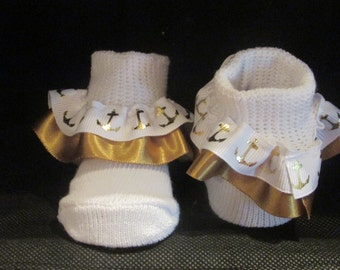 White and gold Ruffled Socks