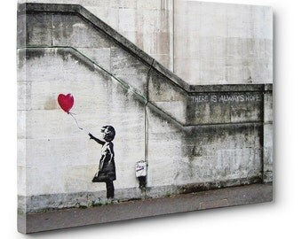 """Banksy, """"There Is Always Hope""""  12"""" x 8"""" x .75"""" Canvas Gallery Wrap Print"""