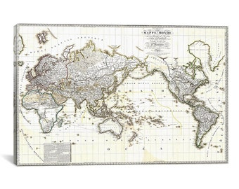 """Antique French Map of The World Canvas Art Print (18"""" x 12"""" x 0.75"""")"""