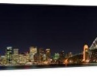 "Sydney Harbor at Night 48"" x 12"" Gallery Wrapped Canvas Wall Art"