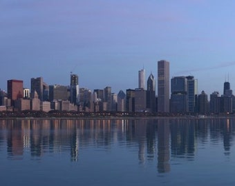 """Chicago at Sunrise 48"""" x 12"""" Rolled Canvas Wall Art"""