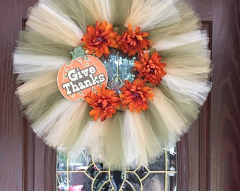Give Thanks tulle wreath
