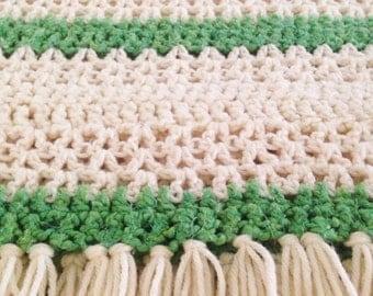Vintage. Afghan Throw. Baby Blanket. Hand Made. Green Blanket. Cream Blanket. Knit Work. Crocheted