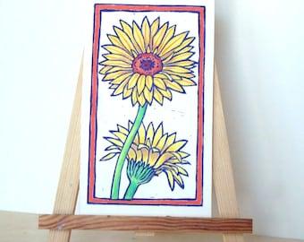 DAISIES Print - 7.5x4. Purple. Linoleum Prints Wall Art Hand Colored Hand Printed Linocut Flower Print Block Prints Handmade Gifts