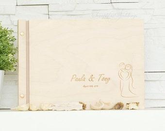 Couple Wedding Book Wooden Memory Book, Wedding Guest Book, Rustic Guest Book, Weding Shower Gift, Wedding Note Book, Wedding Journal