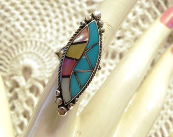 Vintage Navajo turquoise inlay sterling ring / Turquoise inlay / Sterling Navajo ring / Size 7 1/4 / Reduced 10.00