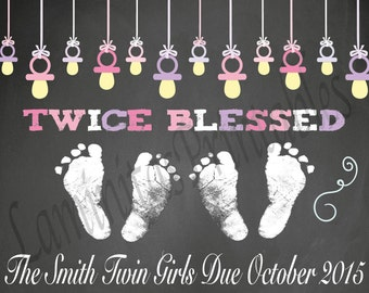 Pregnancy announcement - Twin pregnancy announcement - Twin girls - gender reveal - pregnancy announcement cards - reveal - twins reveal