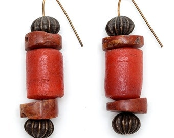 Coral? Or? Handcrafted Pierced EARRINGS: BURNT ORANGE / Apricot Stones