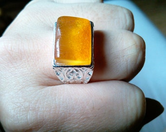 Amber, 925 silver ring