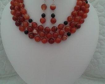 REDUCTION! Sardonyx Necklace & Earring Set, Orange, Three Stranded Necklace. Black Agate