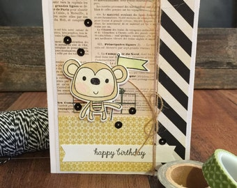 "Hand Stamped ""Monkey Business"" Birthday Card"