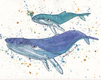 PRINT Humpback Whale Mommy and Baby