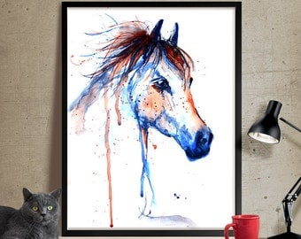 Horse Art, Horse Decor Watercolor, Horse painting Wall Art Print, Horse Print, Watercolour Horse Art PRINT (120)