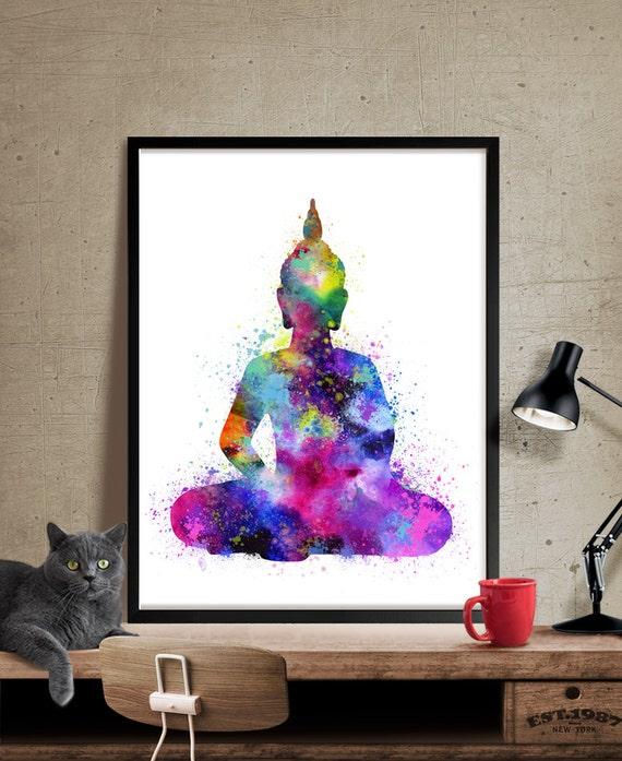 Wandkunst Buddha Buddha Gem Lde Yoga Druck Aquarell Buddha