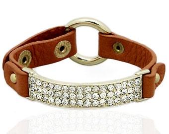 Crystal Bar Bracelet in Chestnut Brown