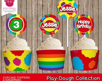 Printable Play Dough Cupcake Toppers and Wrappers     Personalized