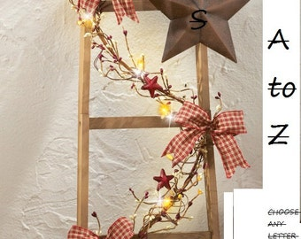 Primitive Country Star Lighted Ladder Decoration Home Decor with Monogram Initial