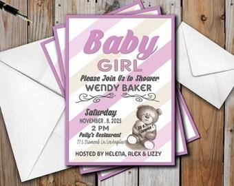 Teddy Bear Baby Shower Invitation for a girl, Classic Shabby Chic,Digital Printable DIY