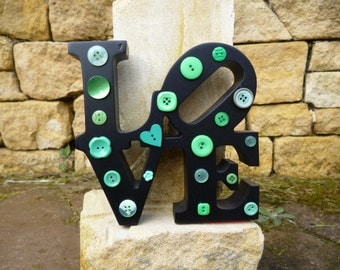 Black and Green Vintage Button 'LOVE' Shelf Sitter - Andy Warhol Inspired