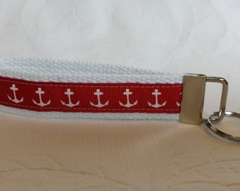 Red and white anchor key fob