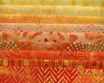 YELLOW / ORANGE Fat Quarter Batik Assortment