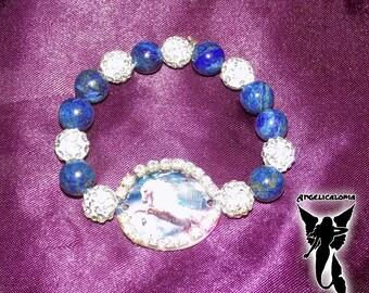 Lapis Lazuli Diamante White Horse on Mother of Pearl Bracelet