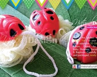 12 PACK Bath Pouf Ladybug Soap / PLUS Customized Tags / Party Favors