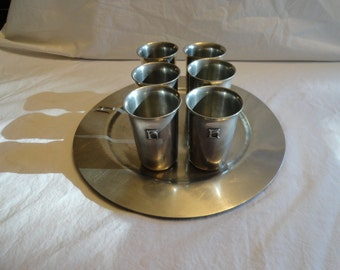 Set of 6 Aluminum Drink/Shot Glasses With Aluminum Serving Tray