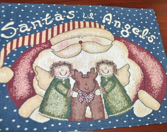 Christmas Holiday Place Mats Set of 4 Santa's Lil Angels Cotton Tapestry Custom Made