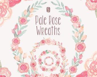 Watercolor Flower Wreaths Clipart - Pale Rose, pink roses, flower elements, wedding invitation clip art
