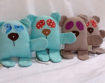 """Organic Baby Toy Bear soft flannel stuffed toy 6""""/Ready to Ship"""
